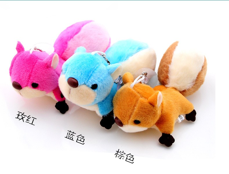 Small Squirrel Plush Stuffed Toy Oversized Tail Pendant Doll Hangings (9)