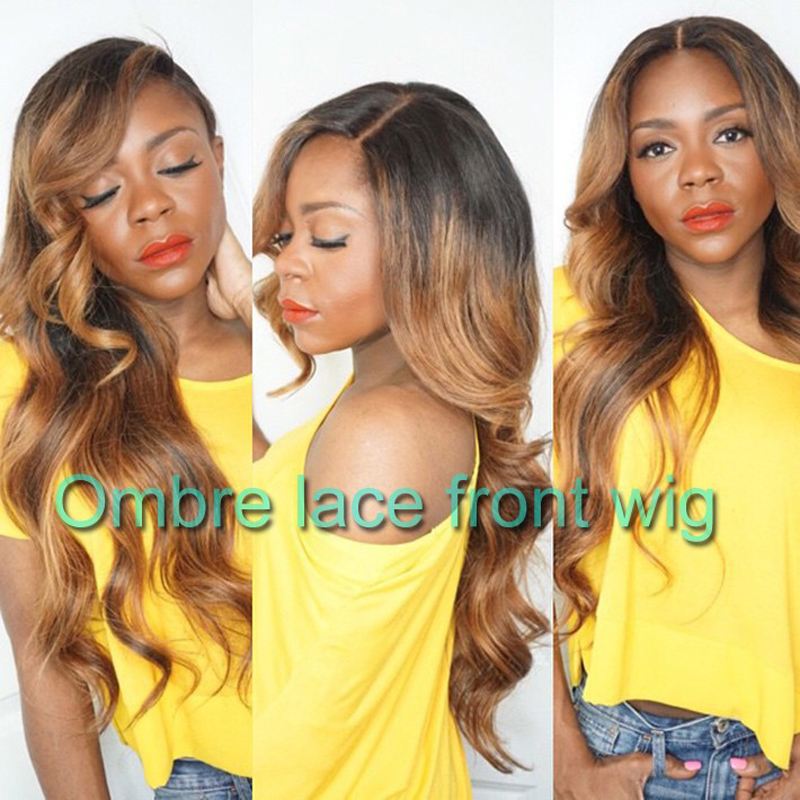 Wavy Synthetic Lace Front Wigs Glueless Ombre Two Tone Black To Blond Heat Resistant Hair Ombre Lacefront Wigs With Baby Hair<br><br>Aliexpress