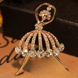 Special Korean Fashion Girl Created Diamond Jewelry Noble Female Ballet Girl Brooch Badge Corsage 23(China (Mainland))