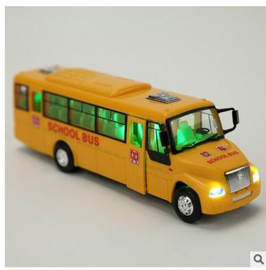 Inertial light music Hyun US school buses buses back of a school bus toy car model car door(China (Mainland))