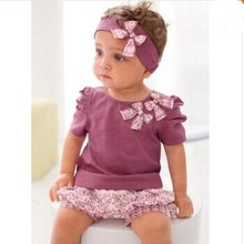 Fashion Baby Clothing Sets Cotton Newborn Summer Baby Girl Clothes Suit (Sleeve Romper+Headband+Pants)Casual Baby Boy Clothes