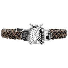 2015 Fashion Jewelry New Attack On Titan Anime Cosplay Bracelet Bracelets Leather Bracelet JW03981 S03
