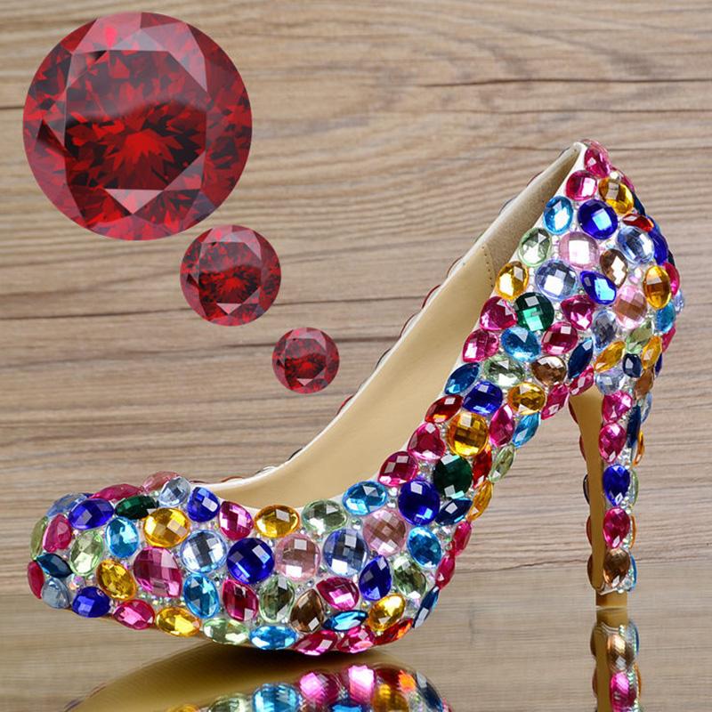 Rhinestone Wedding Dress Women Shoes Pumps Crystal Luxury Slip On Genuine Leather Stiletto High Heels Heeled Ruby Glass Slipper<br><br>Aliexpress