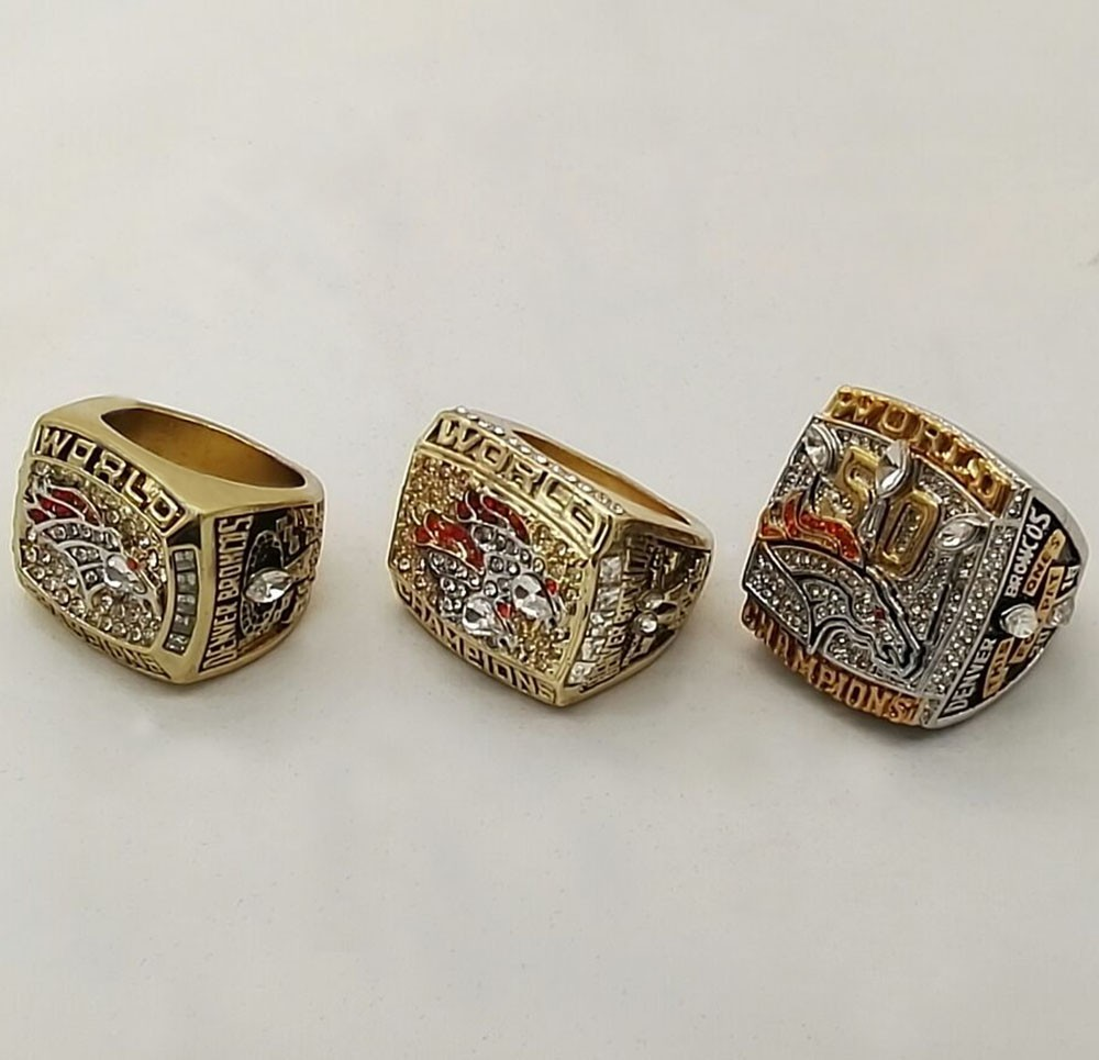 Factory Direct Sale Full Set (3pcs) For 1997 1998 2015 Denver Broncos Super Bowl replica championship rings