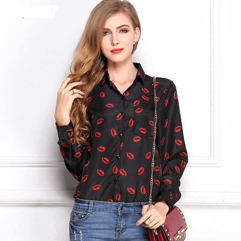 CD29 White Black Long Sleeve Womens Blouses&amp;Shirts Kiss Red Lip Print Casual Tops Loose Plus Size Lady Button Leopard BlusasОдежда и ак�е��уары<br><br><br>Aliexpress