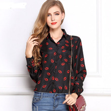 CD29 White Black Long Sleeve Women's Blouses&Shirts Kiss Red Lip Print Casual Tops Loose Plus Size Lady Button Leopard Blusas(China (Mainland))
