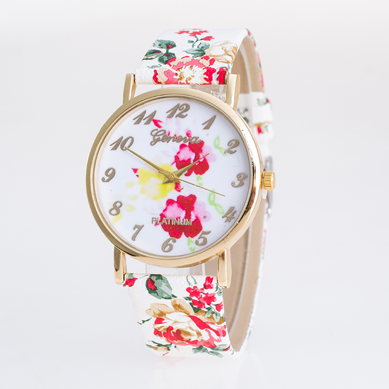 2015 New Women Quartz Watch Fashion Floral Pattern Wristwatch Casual Leather Strap Geneva Relojes Luxury Band - CX_HWJ Store store
