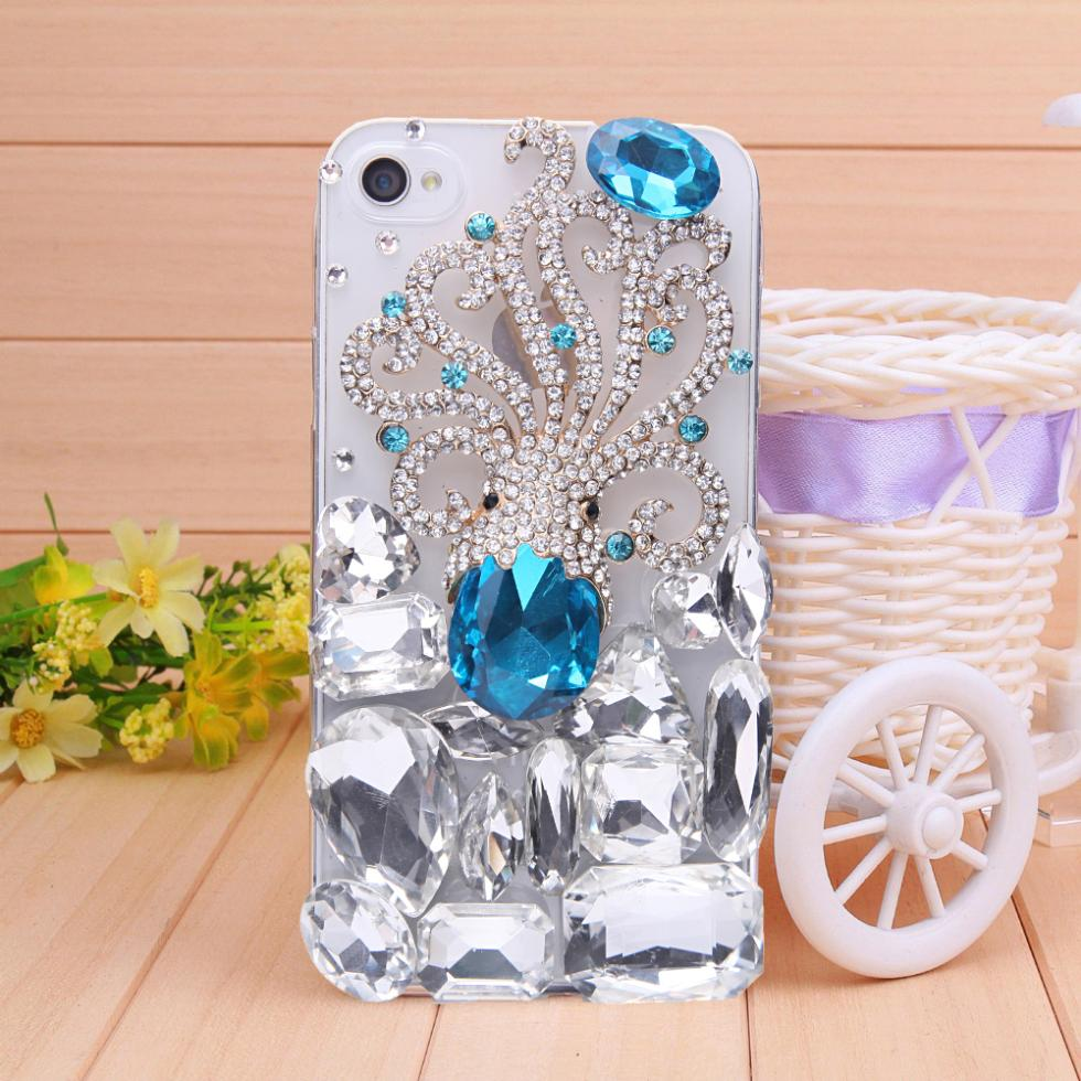 Free shipping octopus costly Rhinestone case for iPhone 4 4s case big white and blue diamond bling case protection(China (Mainland))