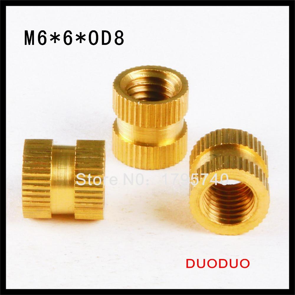 200pcs M6 x 6mm x OD 8mm Injection Molding Brass Knurled Thread Inserts Nuts<br><br>Aliexpress