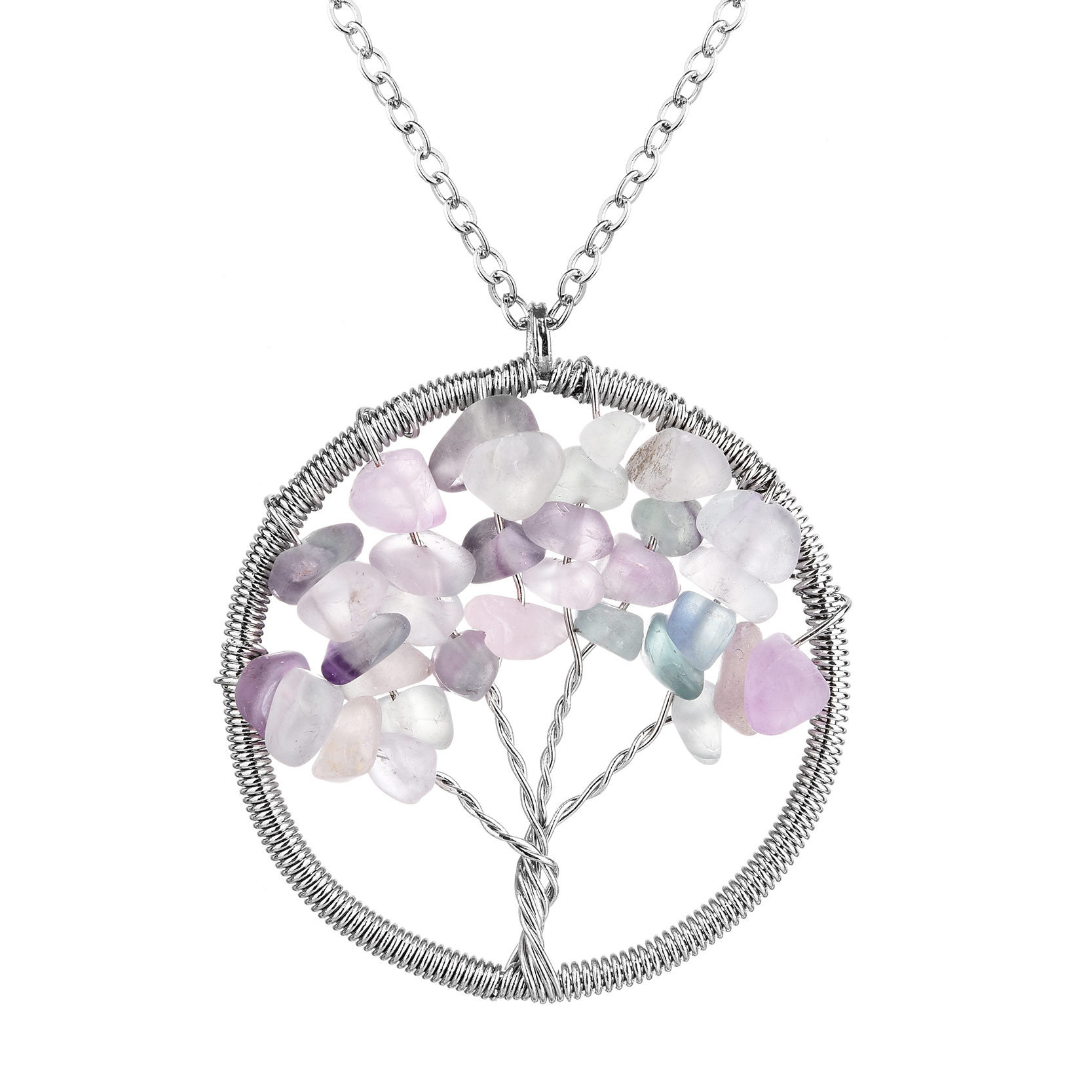 Fashion Wisdom Tree Necklaces Rainbow 7 Natural Stone Tree Of life Pendant Necklaces For Women Round Shaped Necklace Jewelry(China (Mainland))
