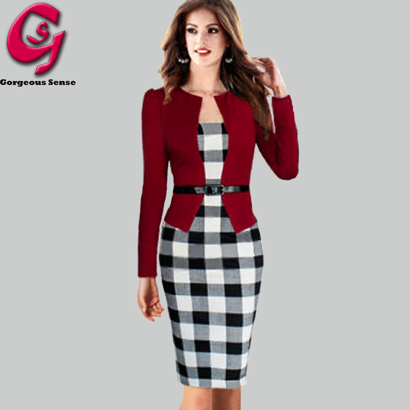 Women Office Plaid Dress Patchwork Long Sleeve Casual Tunic Bodycon Pencil Party Dresses Fashion Elegant Ladies Clothes 2015 XXL(China (Mainland))