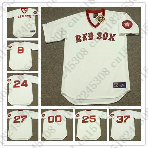 Retro CARLTON FISK DWIGHT EVANS Baseball jersey TONY CONIGLIARO CARL YASTRZEMSKI BILL LEE jersey Mens White Stitched jerseys