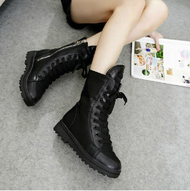 HK FreeShipping 2014 Women Ladies Motorcycle Boots Vintage Combat Army Punk Goth Ankle Shoes Biker PU Leather Winter - HAPPYHOUR QUALITY Store store