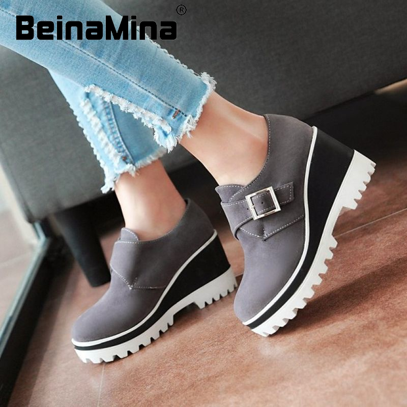 spring autumn summer women shoes paltform quality footwear velcro fashion round toe comfortable pumps shoes size 34-43 P22731