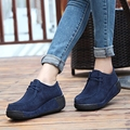 2016 spring women platform shoes casual shoes women leather suede wedges flats rubber boots for women