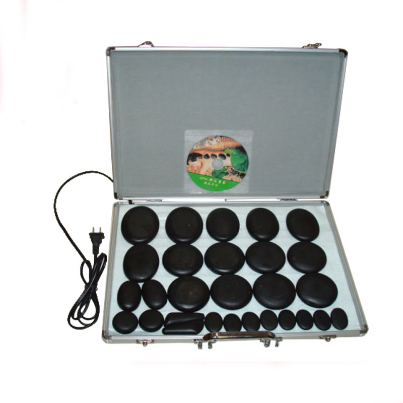 Quality 28pcs natural cold-hot spa energy stone acupuncture massage stone with thermostat heater volcanic energy stone