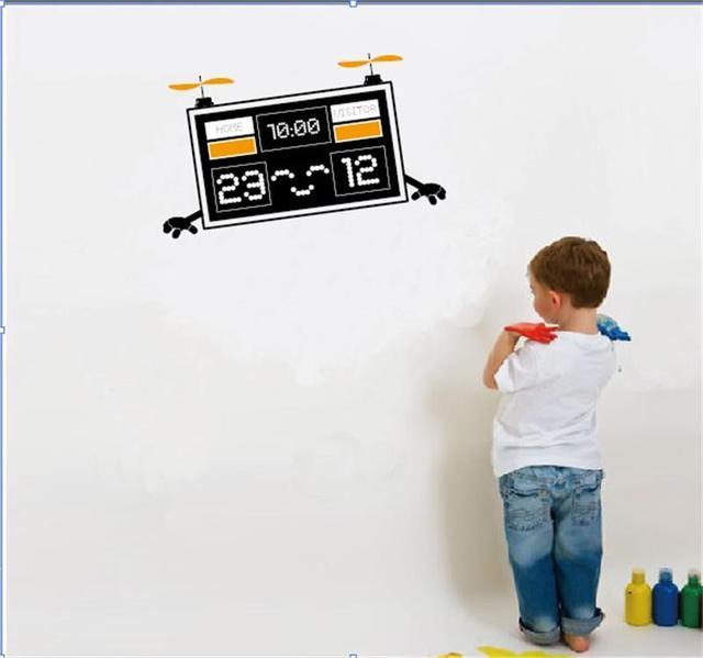 Мультфильм счетчик робот летящий в наклейки детская комната декор мальчик помещений украшения