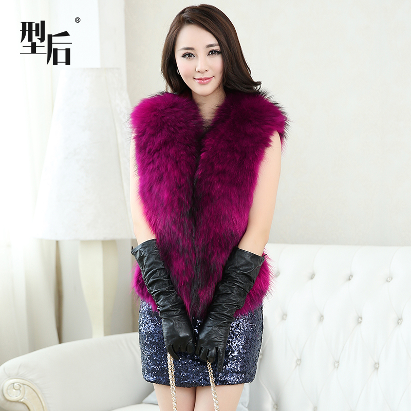 2014 female full leather fur raccoon vest short design outerwear 100% real