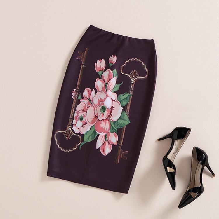 2016 New Spring Retro Flower Waist Skirt Knee-length Printed Women Skirt Flora Slim Bodycon Luxury Skirt New Women ClothingQW-87(China (Mainland))