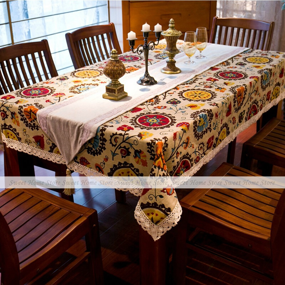 Mediterranean Style Sunflower Lace Cotton Linen Tablecloth 140x180cm Table Cover Wedding Banquet Party Home Decor(China (Mainland))