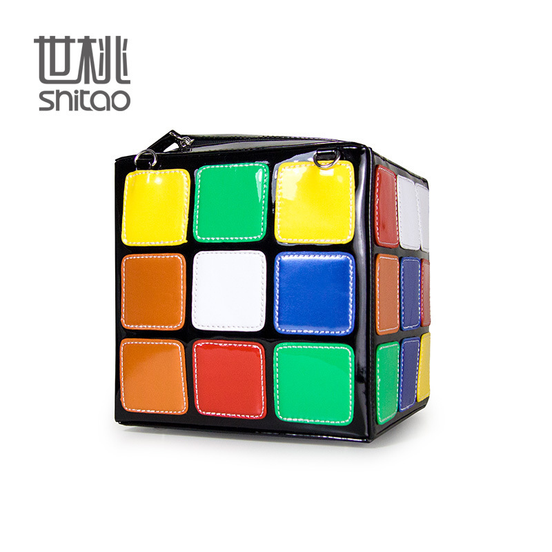 European Tide Colour Square Magic Cube Package Carry Woman Package Handbag 2016 New Pattern Foreign Trade Diagonal Package(China (Mainland))