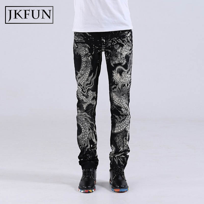 Swag mens printed jeans Eastern dragon Japanese ganster tatoo robin jeans homme black dragon skinny jeans casual trousers JKFUNОдежда и ак�е��уары<br><br><br>Aliexpress