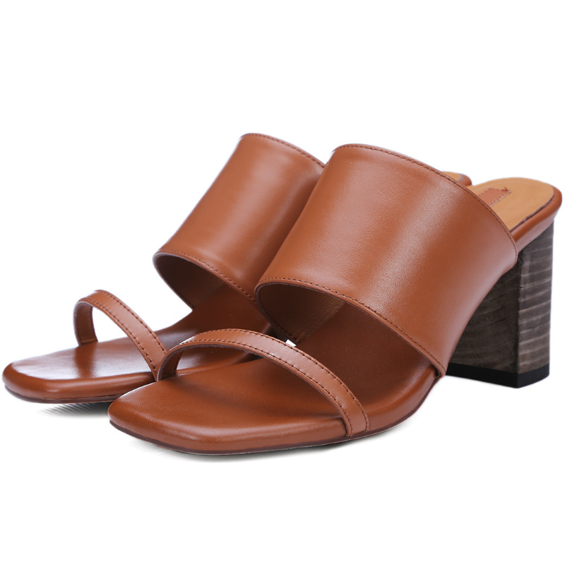 2016 Fashion summer Ladies genuine full grain leather 6.5cm square heel sandals Mature women restro med high heels slides shoes<br><br>Aliexpress