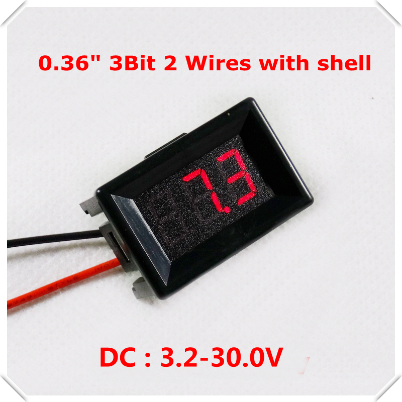 RD With Shell 0.36 Digital Voltmeter DC 3.2-30V 2 wires 3Bit Voltage Meter Panel led Display Color: Red[ 10 pieces / lot](China (Mainland))