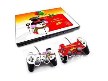 PVC Skin Sticker for PS2 console+2pcs controllers, OEM & Mixed designs are available, Free shipping!
