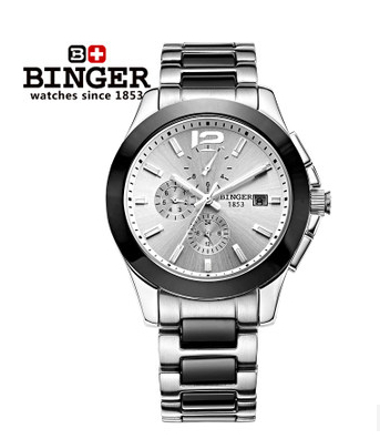 2014 Mens Brand Platinum Gray Silver Dial Ceramic Bezel Watch Chronograph Mens Automatic Machinery Watches Binger Wristwatch<br><br>Aliexpress