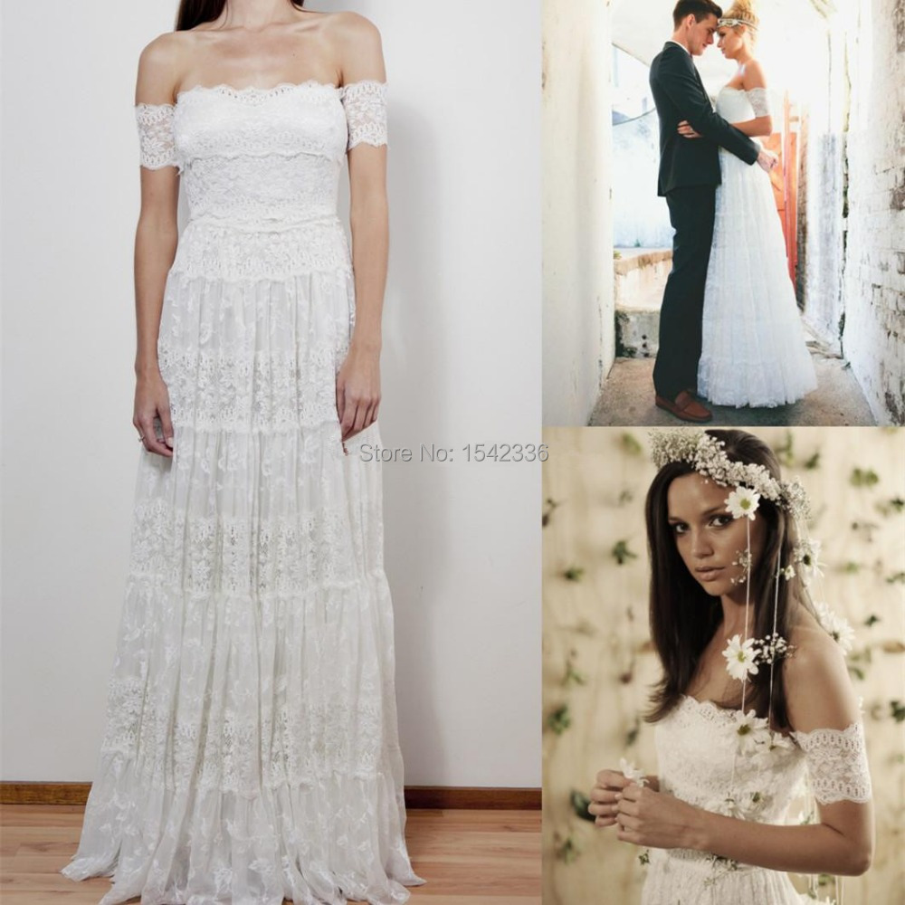 Romantic top fashion bohemian wedding dresses a line for Backless boho wedding dress