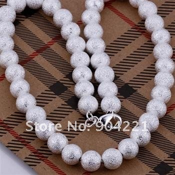 wholesale 5pcs/lot SILVER plated 10mm / 8mm Shine BALL NECKLACE 18inch  Free shiping