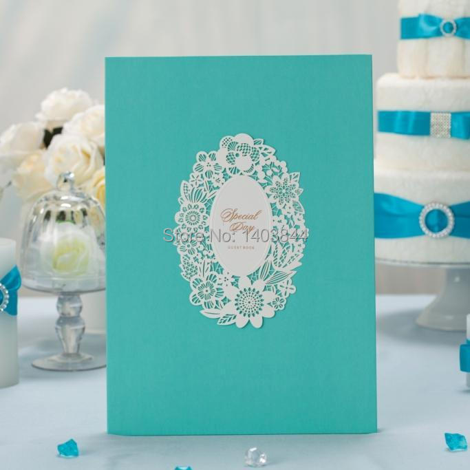 Luxury Wedding Guest Signing Book Guestbook with Laser Cut Decoration Wishmade GB002 Matching Invitation Card CW002