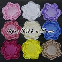 "60pcs/lot 3.5"" Handmade Multi Petal Fabric Flowers Burned Satin Flower For Girls Headbands Kids Hair Accessories(China (Mainland))"