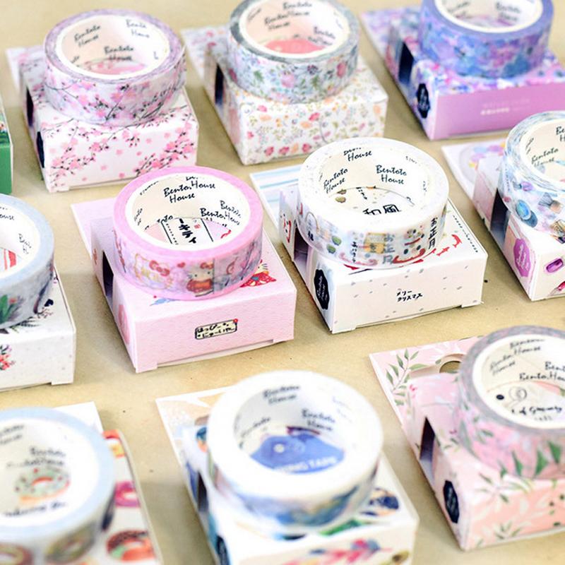 15mm * 7m Cute Kawaii Flowers Cartoon Masking Washi Tape Decorative Adhesive Tape Decor Decora Diy Scrapbooking Sticker Label(China (Mainland))