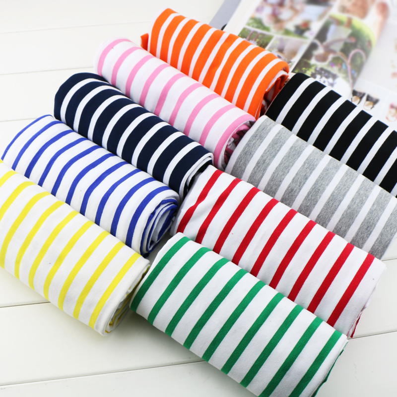 50*170cm stretch cotton fabric lycra striped cotton knit jersey fabric DIY sewing apparel fabric by half meter(China (Mainland))