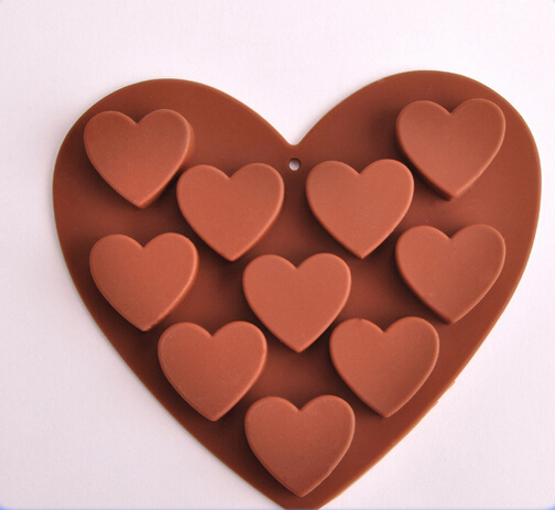 New 10 Holes Hearts Shape Silicone Chocolate Mold Ice Decoration Sweet Food Kitchen Bakeware Cooking Tools Cake Mould#SJJ1573(China (Mainland))