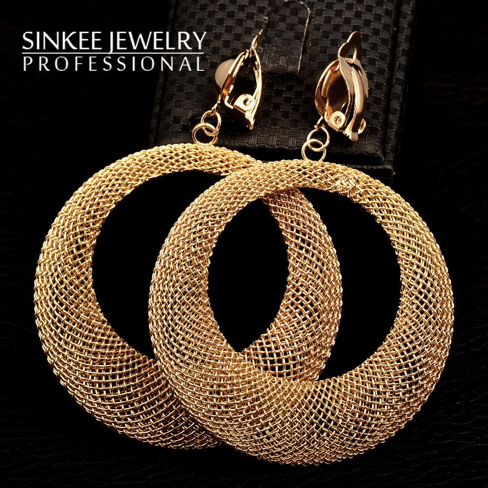 Sinkee free shipping fashion 80mm length Round hollow clip earrings for women dress ES356<br><br>Aliexpress