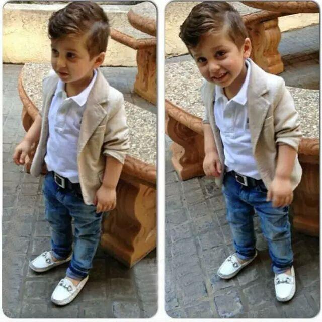 Мальчики одежды комплект 3 шт. мальчиков джентльмен пальто + + джинсовые брюки установить детям одежду наряды