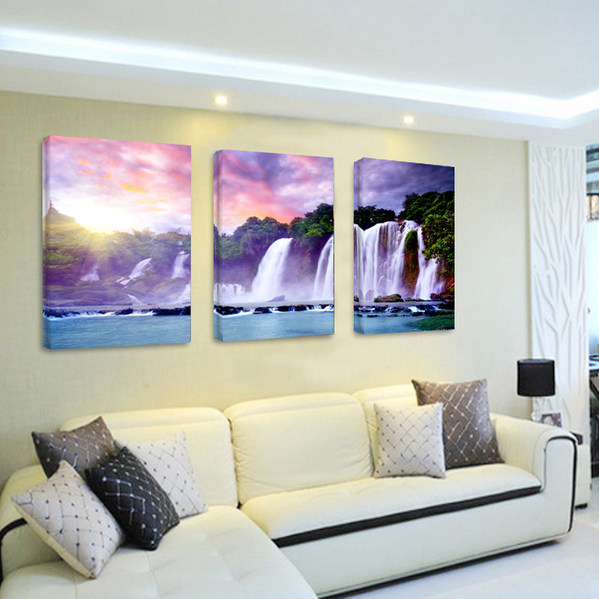 3 piece canvas pictures wall decor art waterfall abstract for Art decoration maison