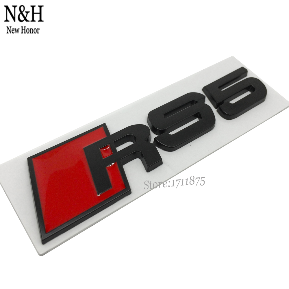 3D Auto Metal Emblem RS5 RS 5 Logo Sticker Rear Tail Badge Logo For Audi Quatrro RS5 Coupe Cabriolet A5 TT S5 FSI Car Styling(China (Mainland))