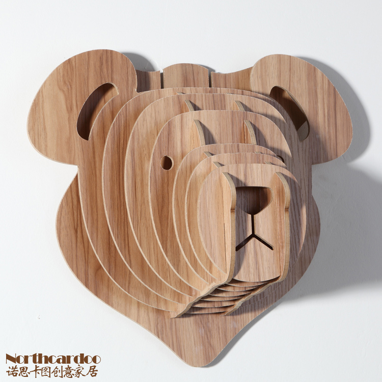 Novelty Items Wood Carving Animal Theme Creative Wall Hanging Home Decor European Style Diy Wooden