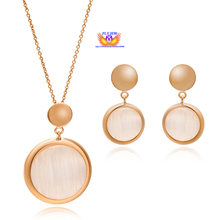 Brand Design!18k real gold Plated nickle free Austrian Rhinestone natural opal round necklace&earrings Jewelry sets for Women(China (Mainland))