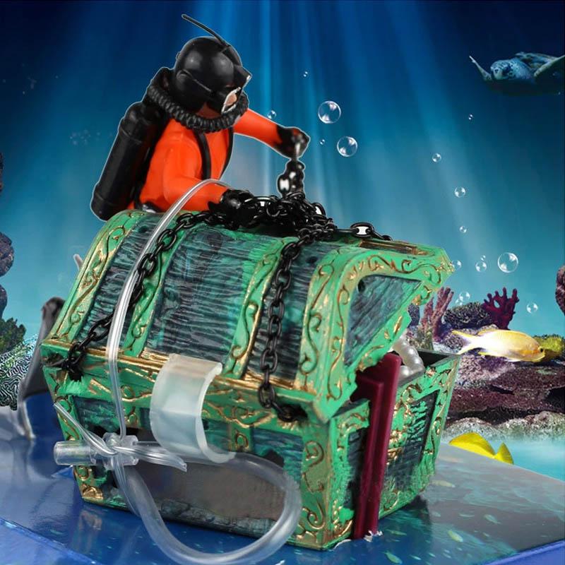 Aquarium treasure chest geocaching mergulhador aquario for Fish tank treasure chest