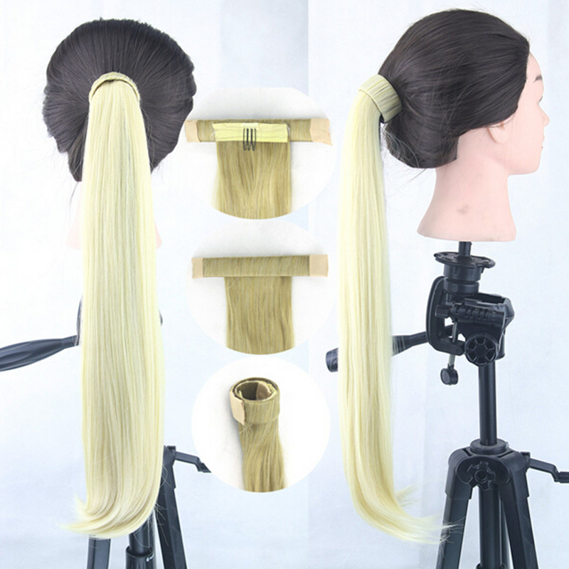 New fashion women Horsetail Wig Straight Long Ponytail Bundled Wig Lady Synthetic Hair Braid Hair Eight Color for Choose