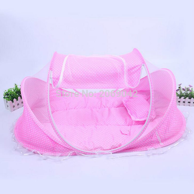 Baby Bed Canopy Portable Mosquito Net Dot Cotton-padded Mattress Pillow Tent Foldable Free Shipping(China (Mainland))