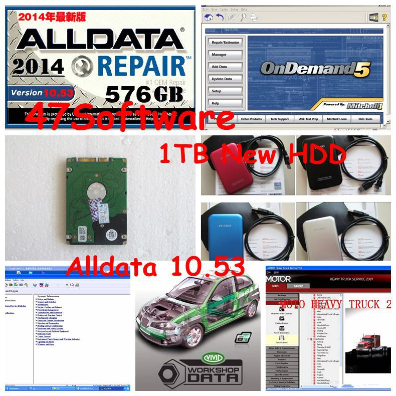Alldata mitchell on demand software 2015+Vivid Workshop data ect 47 in1 with 1tb hdd for all cars and trucks Fit for win7/8(China (Mainland))
