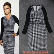 2015 Women Winter Elegant Tartan Tunic Long Sleeve Work Cocktail Sheath Pencil Bodycon Dress Party Dresses Office Wear 50