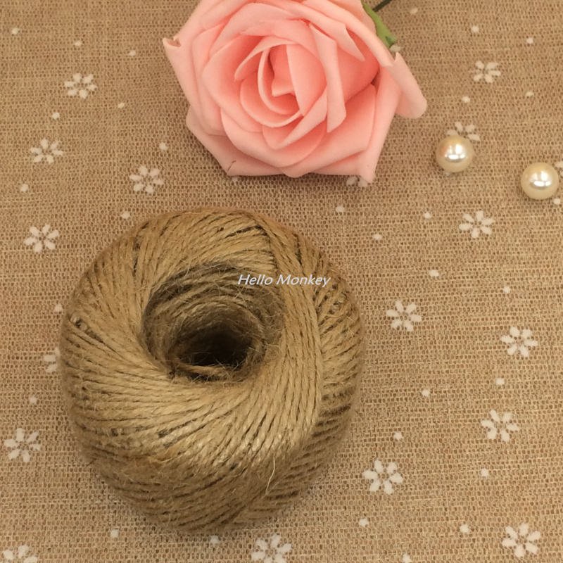 Free Shipping 100yards Natural Jute Burlap Ribbon Trim Twine String rustic wedding decor vintage wedding decoration Scrapbooking(China (Mainland))