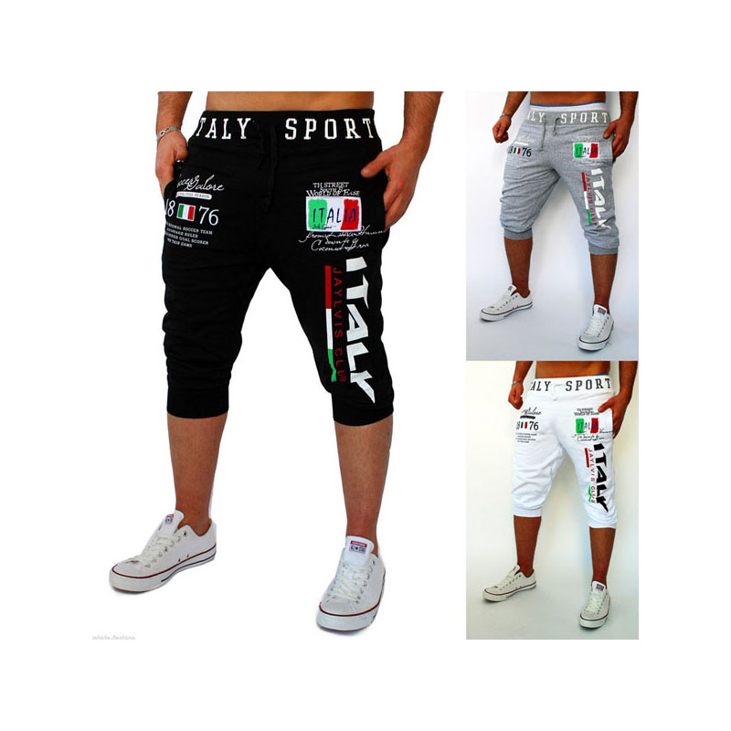 Free shipping 2016 foreign trade hot pants men's sports pants casual Italian printing design(China (Mainland))